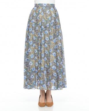 BLU フラワーペイズリープリントスカートを見る