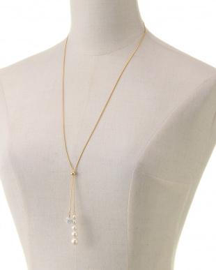 ホワイト/ゴールド/クリスタル グラデーション貝パール Yスタイルネックレスを見る
