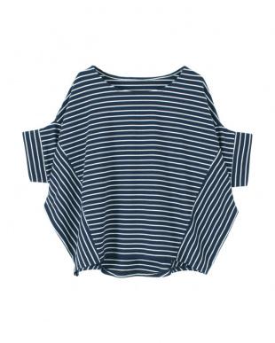 ネイビー/ホワイト デザイン切替カットソーTシャツを見る