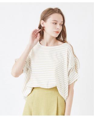 ホワイト/ブラック デザイン切替カットソーTシャツを見る