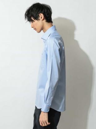ライトブルー コットンツイルワイドカラーシャツ a.v.v HOMMEを見る