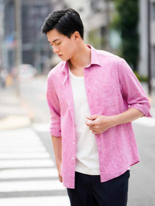ピンク CLナチュラルストレッチシチブソデシャツ[WEB限定サイズ] a.v.v HOMMEを見る
