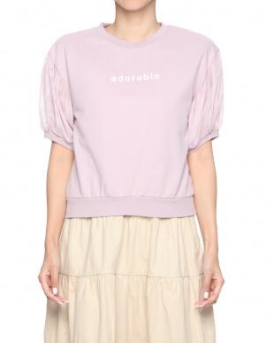 ピンク ○チュール袖ロゴスウェット○1085011120を見る