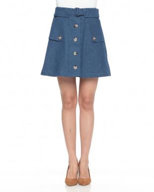 ブルー ☆トレンチライクAラインスカートを見る