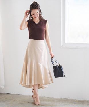 ピンク 麻混アシンメトリーフレアスカートを見る