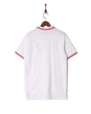 white ラインデザイン ハーフジップ半袖ポロシャツを見る