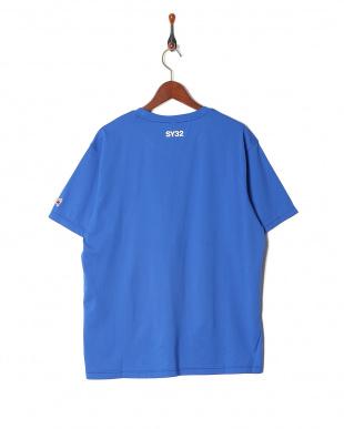 blue ハートロゴ ラインクルーネック 半袖Tシャツを見る