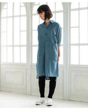 BLUE [ママサイズ]7オンスデニムシャツワンピースを見る