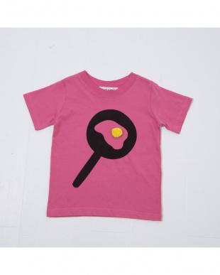 ピンク  ポンポン付き目玉焼きTシャツを見る