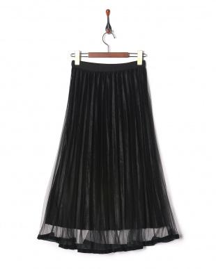 ブラック ウエストゴム メッシュ&別珍2枚重ねプリーツスカートを見る