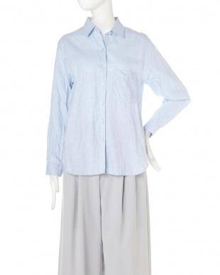 ブルー 麻コットンシャツ TOKYOSTYLIST THEONE EDITIONorgを見る