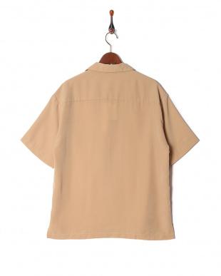ベージュ ポリ半袖オープンシャツを見る