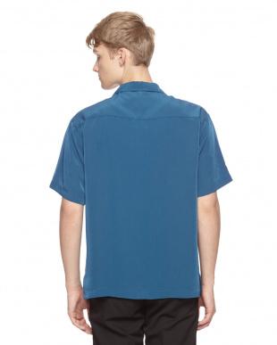 ネービー ポリ半袖オープンシャツを見る