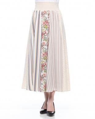 イエロー 花柄+ストライプ+ドット組み合わせロングスカートを見る