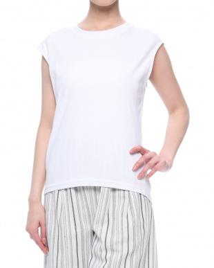 オフホワイト バックドレープノースリTシャツを見る