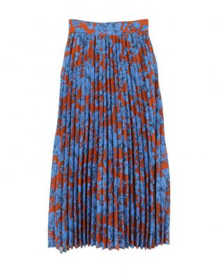 花柄/ダークオレンジ プリーツロングスカートを見る
