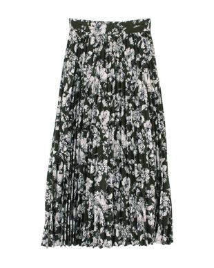 花柄/カーキ プリーツロングスカートを見る