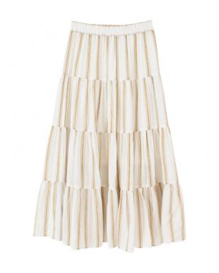 オフホワイト マルチストライプティアードスカートを見る