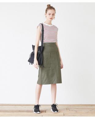 ブラック ビッグポケットバックファスナー台形スカートを見る