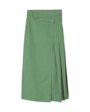 グリーン ウエスト折り返しラップスカートを見る