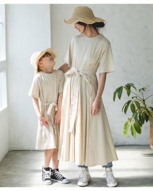 BEIGE  ベルト付半袖カットソーロングワンピース ママサイズ|WOMENを見る