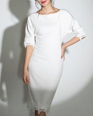 ホワイト コットンレーストリムドレスを見る