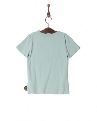 ブルーグレー プリント半袖Tシャツを見る