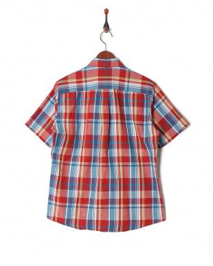 レッド フレンチリネンチェックシャツ SSを見る