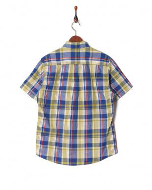 ブルー フレンチリネンチェックシャツ SSを見る