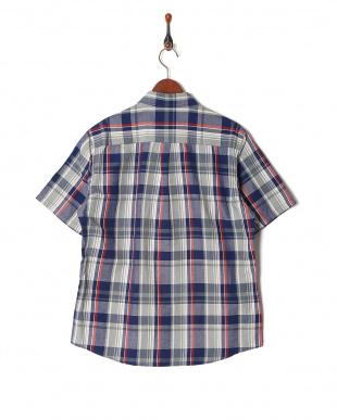 ネイビー フレンチリネンチェックシャツ SSを見る