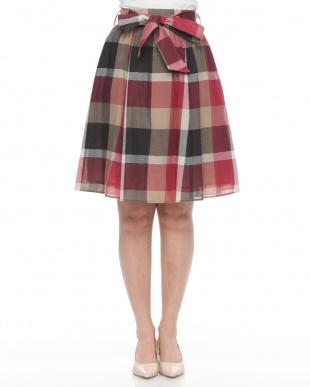 レッド クレストブリッジチェック フレアスカートを見る