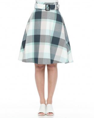 ピンク クレストブリッジチェックリリヤーンツイードスカートを見る