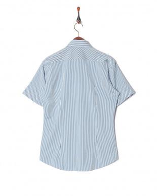 ブルー イージーケア ジャージーストライプボタンダウンシャツを見る