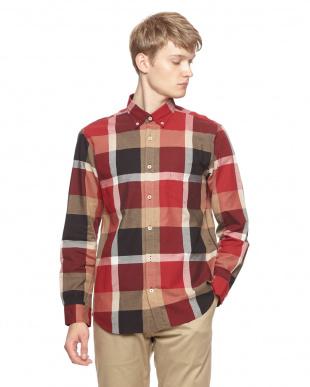 レッド コットンリネンドビークレストブリッジチェックシャツを見る