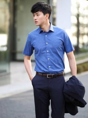 ブルー BEZ綿麻ワイドカラーシャツ シャツ a.v.v HOMMEを見る