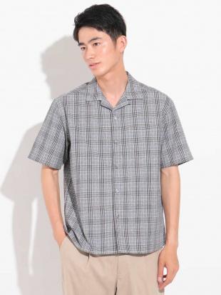グレー グレンチェックオープンカラーワイドシャツ [WEB限定サイズ] a.v.v HOMMEを見る