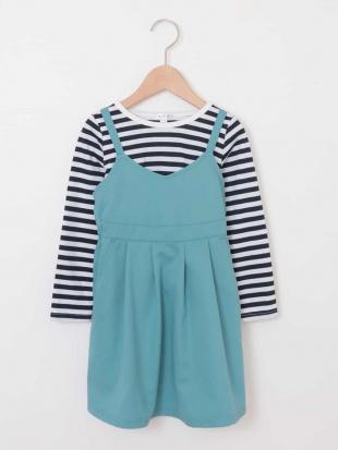 グリーン [100-130]ボーダーカットソー付きジャンパースカート[WEB限定サイズ] a.v.v bout de chouを見る