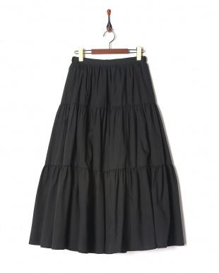 ブラック T/Cローンティアードスカートを見る