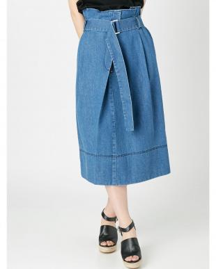 ブルー デニムラップスカート(ブルー) MERCURYDUOを見る