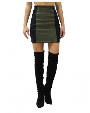 カーキ Twotone suede skirtを見る