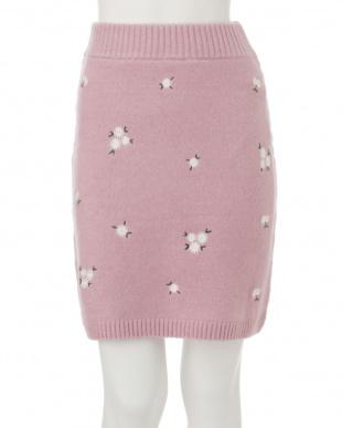 オフホワイト マーガレット刺繍ニットスカート dazzlinを見る