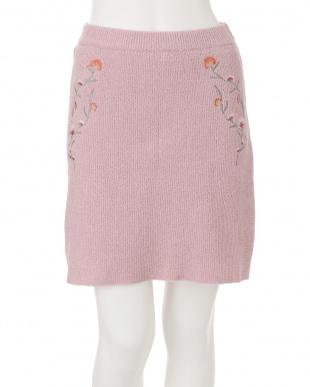 ピンク ナデシコ刺繍ニットスカート dazzlinを見る