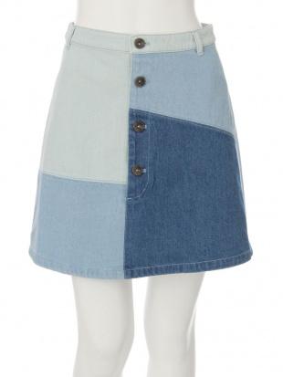 アイスブルー パッチワークデニムスカート dazzlinを見る