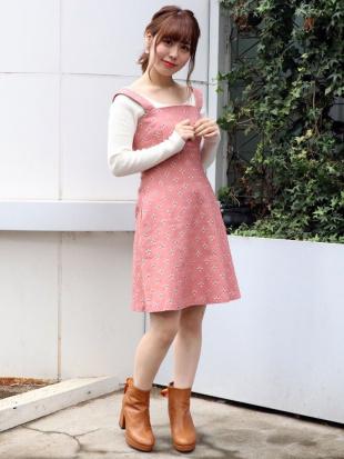 ピンク リトルフラワー刺繍キャミワンピース dazzlinを見る