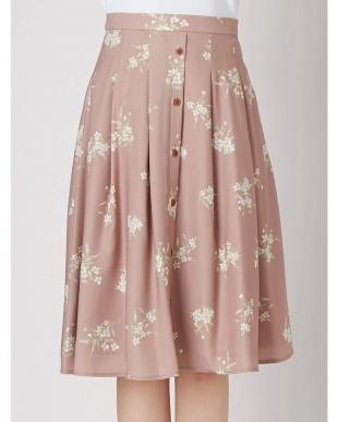パープル ブーケ柄ウッドボタンスカート dazzlinを見る