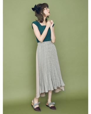 ブラウン 【sw】チェックプリーツフレアスカート dazzlinを見る