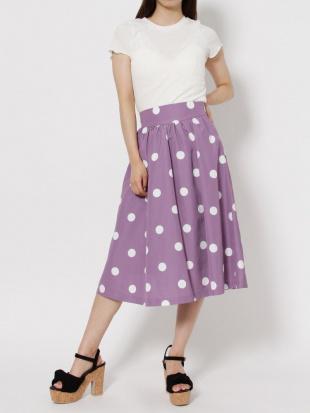 ベージュ 【S】ポルカドットスカート dazzlinを見る