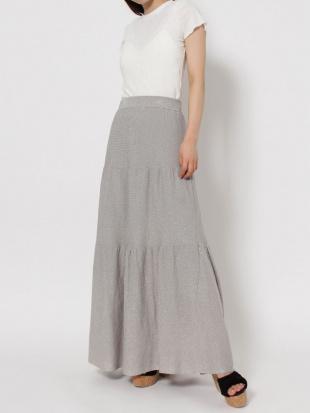 グレー 【C】ラメティアードロングスカート dazzlinを見る