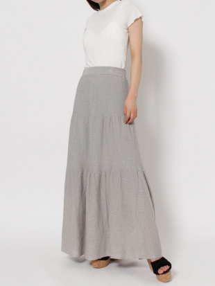 ベージュ 【C】ラメティアードロングスカート dazzlinを見る