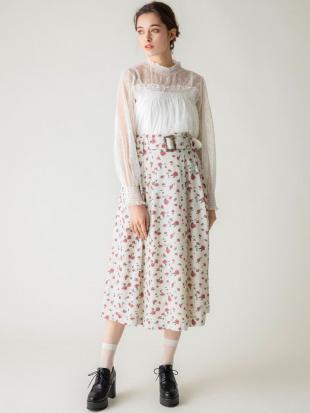 アイボリー 【E】ArtPatternフレアスカート dazzlinを見る